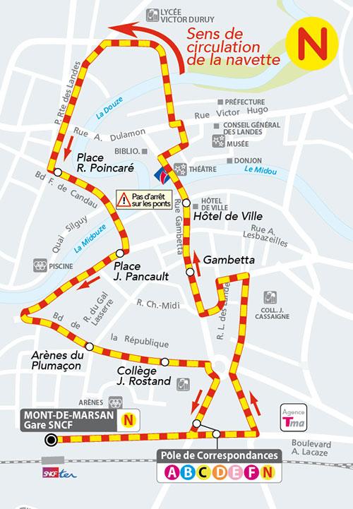 Plan de la Navette Centre-Ville